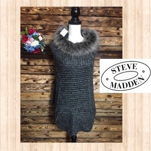 NWT! Steve Madden Faux Fur Collared Sweater Poncho